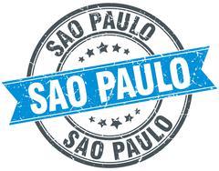 Sao Paulo blue round grunge vintage ribbon stamp - stock illustration