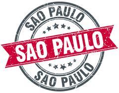 Sao Paulo red round grunge vintage ribbon stamp - stock illustration