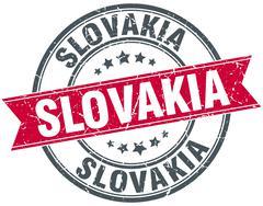 Slovakia red round grunge vintage ribbon stamp - stock illustration