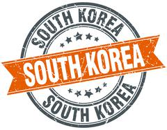 South Korea red round grunge vintage ribbon stamp - stock illustration