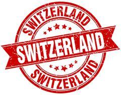 Switzerland red round grunge vintage ribbon stamp - stock illustration
