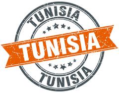 Tunisia red round grunge vintage ribbon stamp Stock Illustration