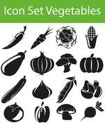 Icon Set Vegetables Stock Illustration