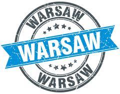 Warsaw blue round grunge vintage ribbon stamp - stock illustration