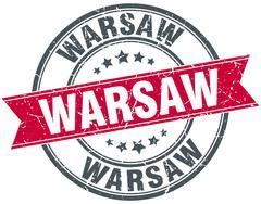 Warsaw red round grunge vintage ribbon stamp - stock illustration