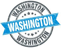 Washington blue round grunge vintage ribbon stamp Stock Illustration