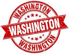 Washington red round grunge vintage ribbon stamp - stock illustration