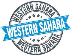 Western Sahara blue round grunge vintage ribbon stamp - stock illustration