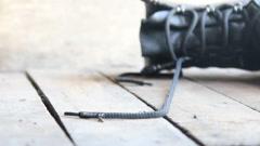 Follow us idea, inscription and shoe laces Stock Footage