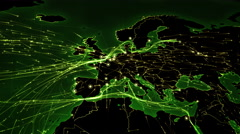 European and Asian map with bright connections.2 shots in 1 file. Green. Stock Footage