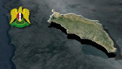 Quneitra Governorate with Coat of arms animation map Stock Footage