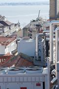 View of a huge group of air conditioning on a roof - stock photo