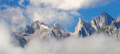 Peaks in Lescun Cirque. On the right Ansabere Aiguilles. Aspe Valley, Pyrenees,  - stock photo