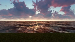 Sunset Time Lapse Light Rays Reflection in the Ocean Stock Footage