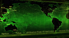 Loopable world map with connections, countries, cities and time zones. Green. Stock Footage