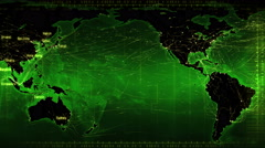Loopable world map with connections and cities. Green. Stock Footage