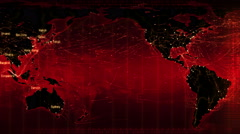 Loopable world map with connections and cities. Red. Stock Footage