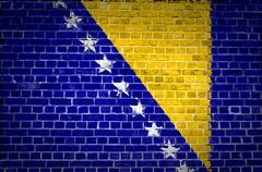 Brick Wall Bosnia and Herzegovina - stock photo