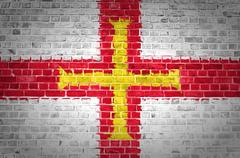 Brick Wall Guernsey Stock Photos