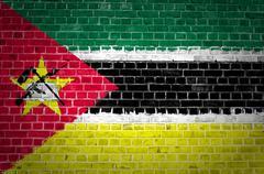 Brick Wall Mozambique - stock photo