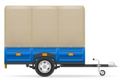 car trailer for the transportation of goods vector illustration - stock illustration