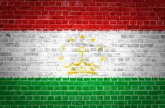 Brick Wall Tajikistan - stock photo