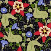 Vector seamless vintage floral pattern. Flowers on a black background Stock Illustration