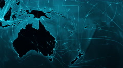 World connections. Oceania and Asia. Cyan. More options in my portfolio. - stock footage