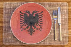 Dinner plate for Albania - stock photo