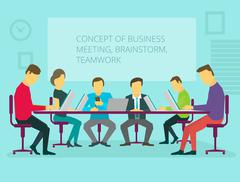 People team sitting and working together at the table. Teamwork, brainstorming - stock illustration
