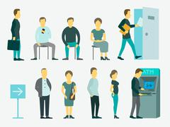 Set with people queue the ATM vector illustration - stock illustration