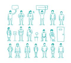 People vector set drawing hand standing and waiting in line - stock illustration