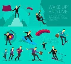 Vector illustration show Businessman successful life adventure activities - stock illustration