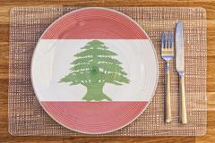 Dinner plate for Lebanon - stock photo