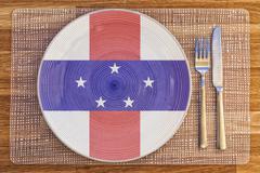 Dinner plate for Netherlands Antilles - stock photo