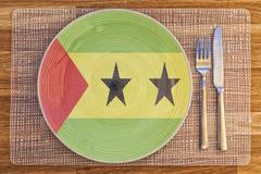 Dinner plate for Sao Tome and Principe - stock photo