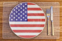 Dinner plate for the United States of America - stock photo