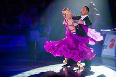 Dance couple performs at the ballroom dance event Stock Photos