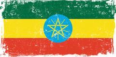 Ethiopia Vector Flag on White - stock illustration