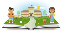 Opened book with school and two children Stock Illustration