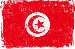 Tunisia Vector Flag on White - stock illustration