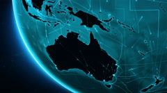 Earth connections. Australia and Oceania. Locked. Cyan. Stock Footage