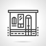 Stock Illustration of Storefronts simple line vector icon. Grocery