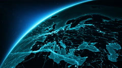 Earth connections. From Europe to North America. Cyan. Stock Footage