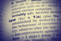 Dictionary definition of the word Law with vignetting effect - stock photo