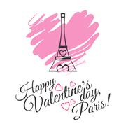 Stock Illustration of Happy Valentines Day celebration greeting card design with Eiffel Tower