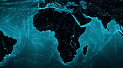 African and European map with bright connections. 2 shots in 1 file. Cyan. Stock Footage