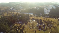 Aerial shot of village in the Carpathian mountains at spring Stock Footage