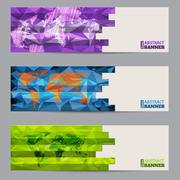 Cool banner set of three with abstract stripes - stock illustration