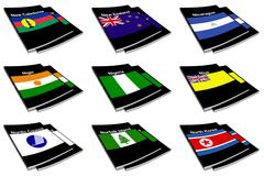 World flag book collection Stock Illustration
